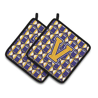 Letter V Football Purple and Gold Pair of Pot Holders