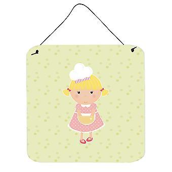 Blonde Baker on Green Wall or Door Hanging Prints