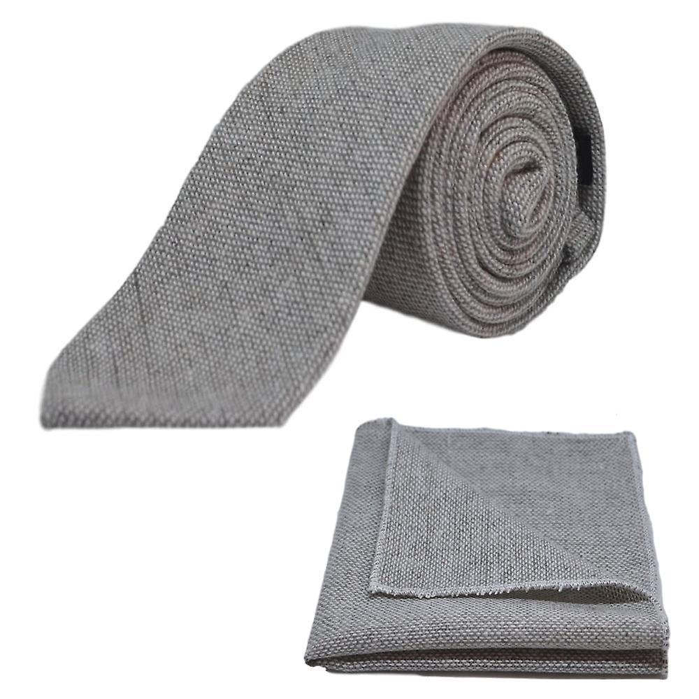 Highland Weave Stonewashed Light Grey Tie & Pocket Square Set