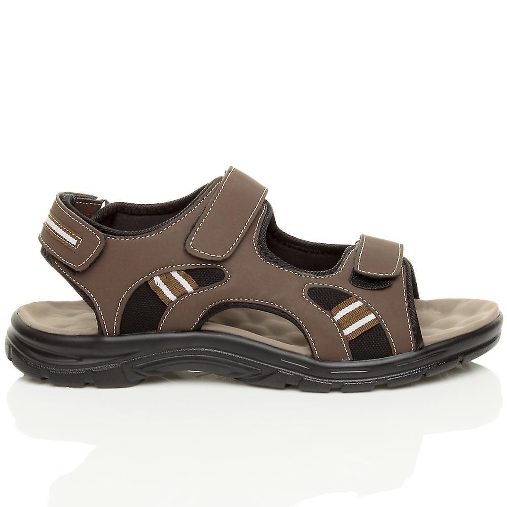 Ajvani Mens Flat Low Heel Hook & Loop Strap Summer Flexible Casual Sandals