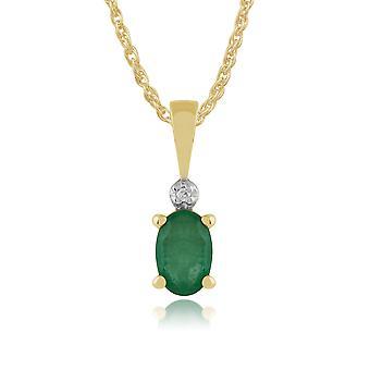 9ct Yellow Gold 0,42 ct naturlig Emerald & Diamond klassiska Oval hänge på kedja