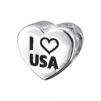 USA Heart - 925 Sterling Silver Plain Beads - W19832X