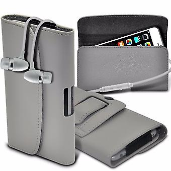 """For Motorola Moto E5 Play (5.2"""") - Horizontal Faux Leather Belt Holster Case Cover with Aluminium Earphone (Grey) by i-Tronixs"""