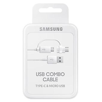 Samsung Combo Kabel Datenkabel Micro-USB USB A inkl. USB Typ C Adapter Weiss