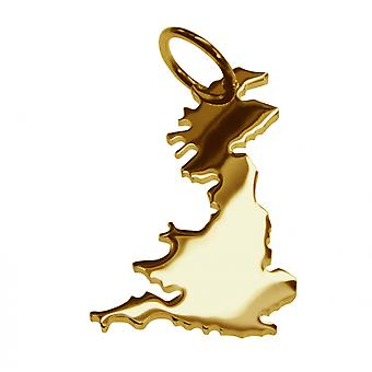 Trailer map ENGLAND pendants made of massive 585 yellow gold