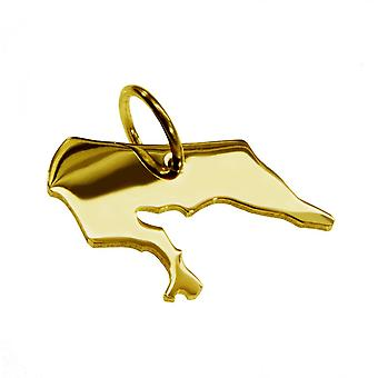 Trailer map pendants in gold yellow-gold in the form of BORKUM