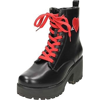 Koi Footwear Chunky Heel Platform Gothic Punk Ankle Lace Up Boots