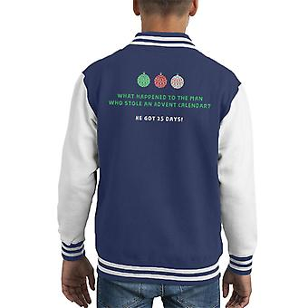 Christmas Cracker Joke Stolen Advent Calendar 24 Years Kid's Varsity Jacket