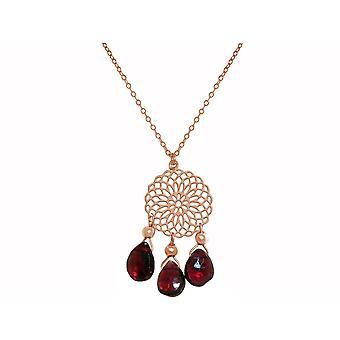 GEMSHINE Halskette Mandala Granat Edelstein Silber,vergoldet oder rose