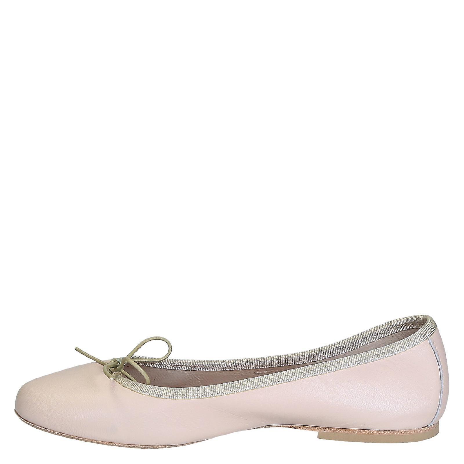 Handmade light pink soft leather ballet flats ballerina shoes