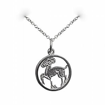 Silver 11mm pierced Aries Zodiac Pendant with a rolo Chain 24 inches