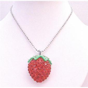 Strawberry hänge helt inbäddad & översållad med röda kristaller halsband