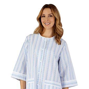 Slenderella HC3224 Women's Woven Striped Robe Dressing Gown