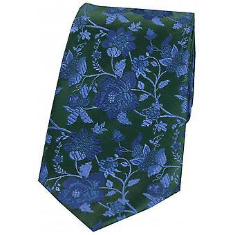 David Van Hagen Floral motif cravate de soie - bleu/vert forêt