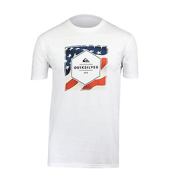 Para hombre Quiksilver estrellas y rayas t-shirt-White