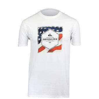 Quiksilver Mens sterren & T-Shirt-White Stripes