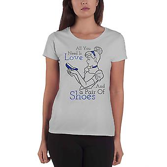 Cinderella T Shirt Prinzessin Cinderella Offizielle Disney Womens Skinny Fit Grey