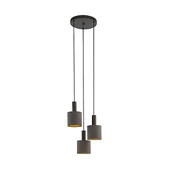 EGLO Concessa 1 Triple Drop kluster hängande ljus i Cappuccino och guld
