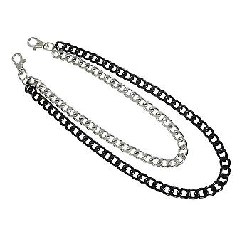 Black / Chrome Plated Double Strand Link Wallet Chain