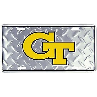 """GA Tech chaqueta amarilla NCAA """"diamante"""" placa de matrícula"""