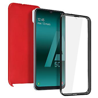 Siliconen case + back cover in polycarbonaat voor Samsung Galaxy A50-rood