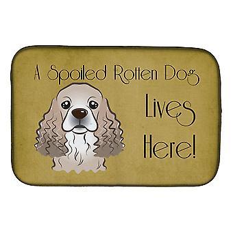 Cocker Spaniel Spoiled Dog vive aquí Dish Drying Mat