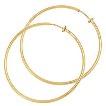 Eternal Collection Hoopla 60mm Gold Tone Clip On Hoop Earrings