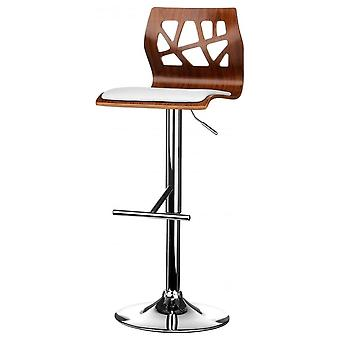 Fusion Living Walnut And White Faux Leather Contemporary Cut Out Bar Stool