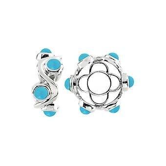 Storywheels Silver & Turquoise Cabochon Swirl Wheel S429TQ