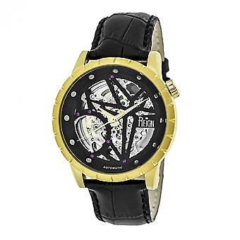 Reign Xavier Automatic Skeleton Leather-Band Watch - Gold/Black