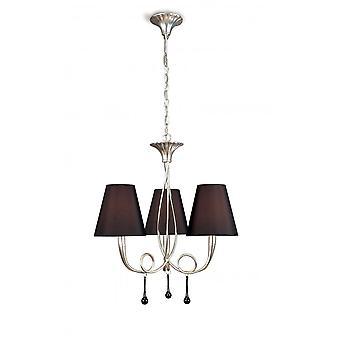 Mantra Paola Wisiorek 3 Light E14, srebrno pomalowany czarnymi odcieniami i czarne szklane kropelki