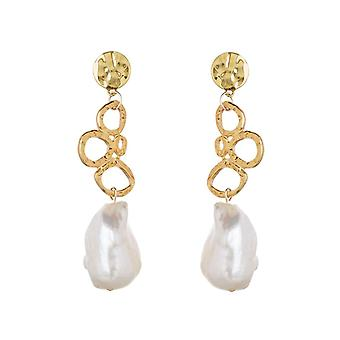 Gemshine stud earrings with 22 mm white baroque beads 925 silver or gold plated