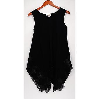 Kathleen Kirkwood Women's Top Lace Handkerchief Hem Tank Black A296316