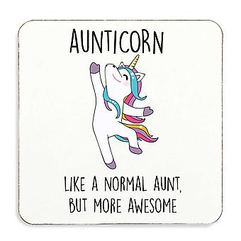 Aunticorn Aunt Unicorn Coaster Cork Back