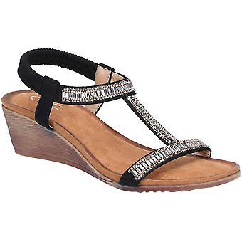 Divaz Womens Pearl elastisch steken Strappy zomer sandalen