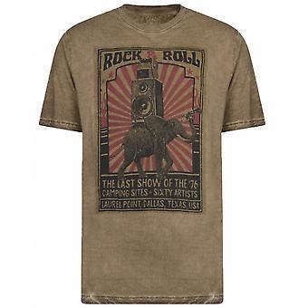 KAM Kam Fashion Rock N Roll Slub Wash T Shirt