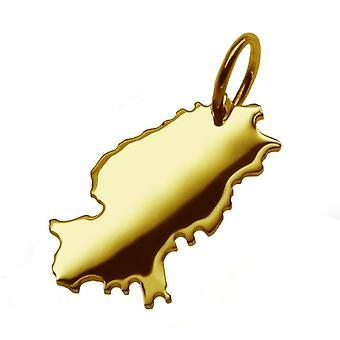 Hänge karta kedja hänge i guldgult-guld i form av IBIZA