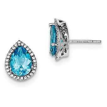 925 Sterling Zilver gepolijst Blauwe Topaz en CZ Cubic Zirconia Gesimuleerde Diamond Post Oorbellen Sieraden Geschenken voor vrouwen