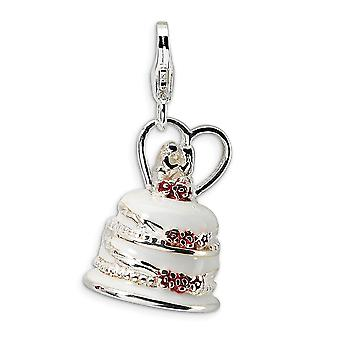 925 Sterling Ezüst Rhodium bevonatú Fancy Homár bezárása 3 D zománcozott esküvői torta homár csattal Charm medál nyak
