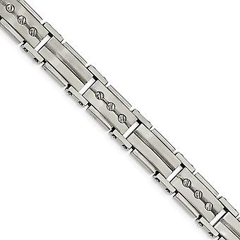 Stainless Steel Brushed and Polished Bracelet 8.5 Inch Jewelry Gifts for Women