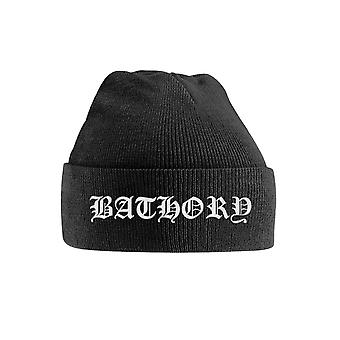 Bathory Beanie Hat White Band Logo new Official Black Embroidered