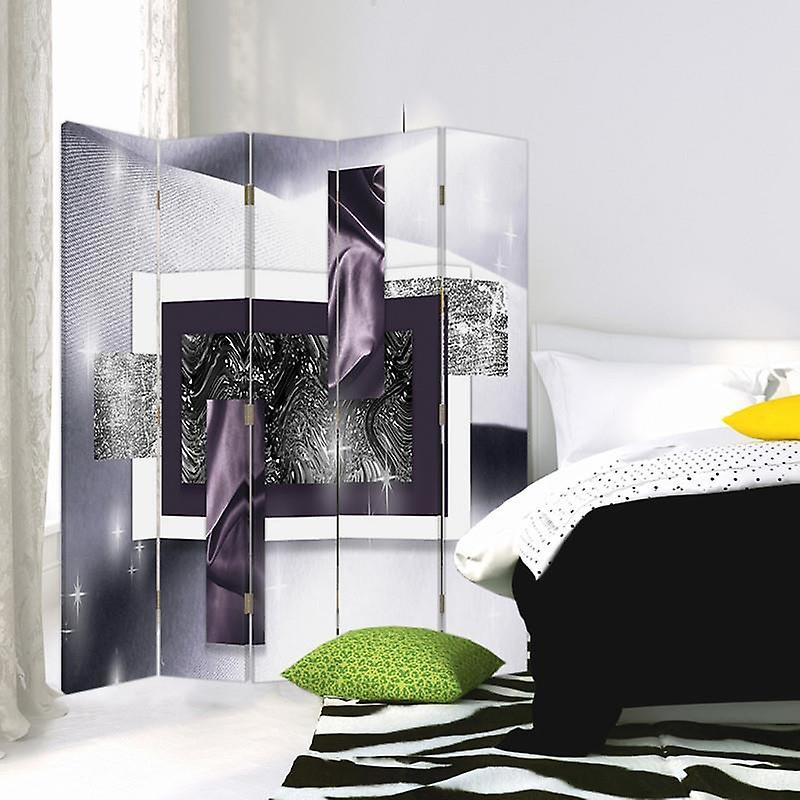 Diviseur de chambre, 5 panneaux, toile, espace d'abstraction