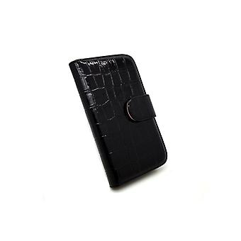 Galaxy S3 case wallet crocodile leather case black