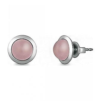 Quinn - Silver stud earrings with rose quartz - 036838930
