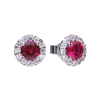 Diamonfire Cubic Zirconia Red Round Cluster Earrings E5654