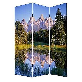 "1"" x 48"" x 72"" Multi Color Wood Canvas Mountain Peaks  Screen"