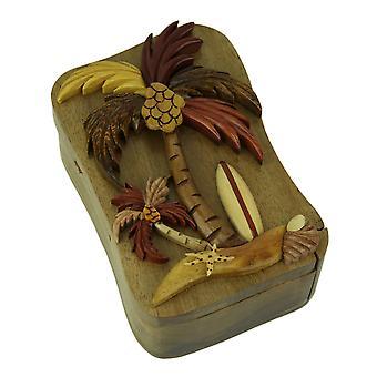 Hechos a mano caja de la baratija de rompecabezas de madera 3D Palm Tree Beach