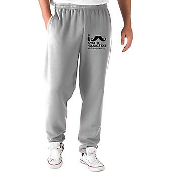 Grey tracksuit pants fun2067 i mustache you a question