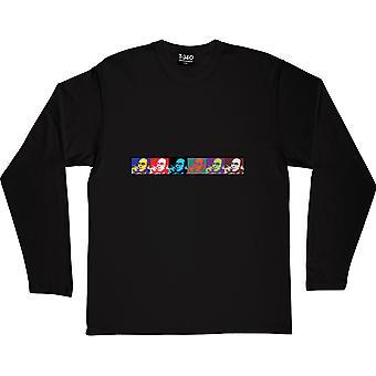 Hunter S Thompson: Andy Warhol Style Black Long-Sleeved T-Shirt
