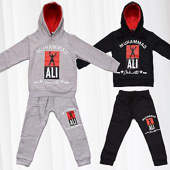 Kids Jogging Suit Tracksuit Set Hoody Sweat Pants Sports Boxing Legend Ali Print
